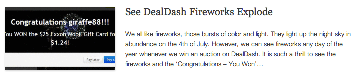 See DealDash Fireworks Explode