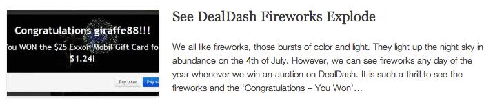 See DealDash Fireworks Explode