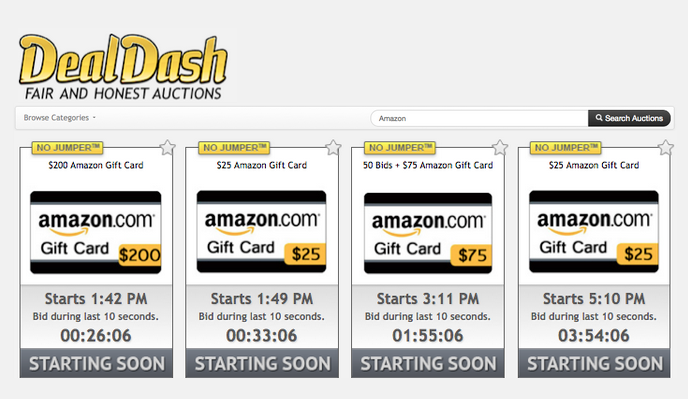 DealDash Amazon gift cards