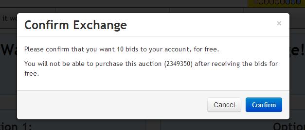 DealDash Item to Bid Exchange Prompt
