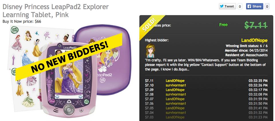 DealDash Auction Win LeapPad2 tablet