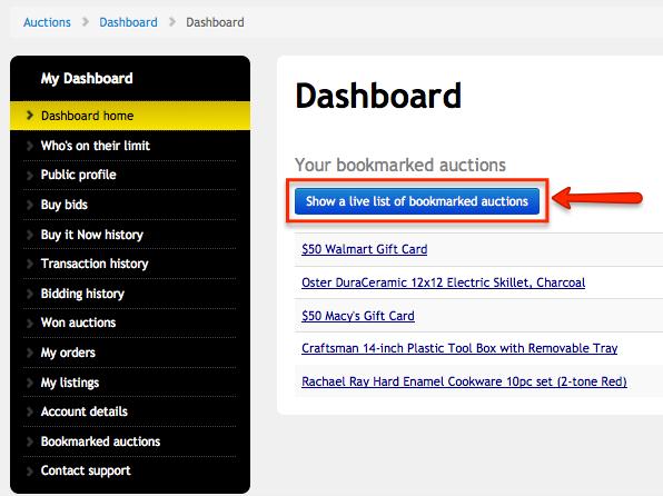 bookmark dashboard page