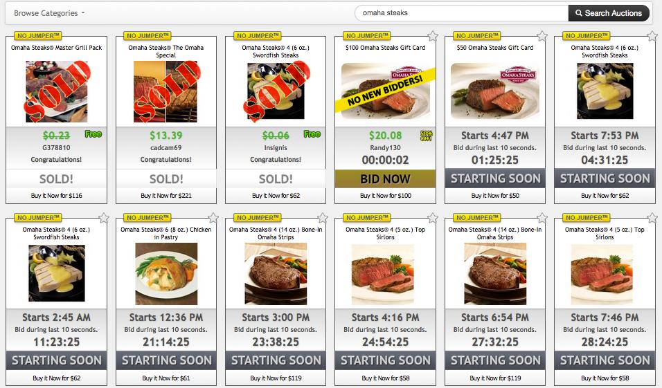 Omaha Steaks on DealDash